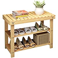 2 Tier Natural Pine Shoe Rack Foot Stool with Cushion and Storage Drawer on Top