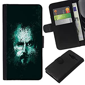 KLONGSHOP // Tirón de la caja Cartera de cuero con ranuras para tarjetas - Jesse Walter Dos Cara Meth Cocineros - Samsung Galaxy Core Prime //