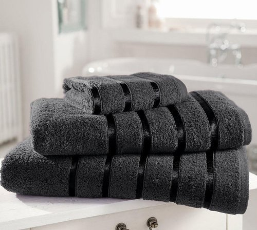 8 Pieces Towels Set Egyptian Cotton 600gsm Extra Soft Kensington Satin Stripe (2 x Bath Sheets, 2 x Bath Towels And 4 x Hand Towels) Dark Grey Quality Linen and Towels