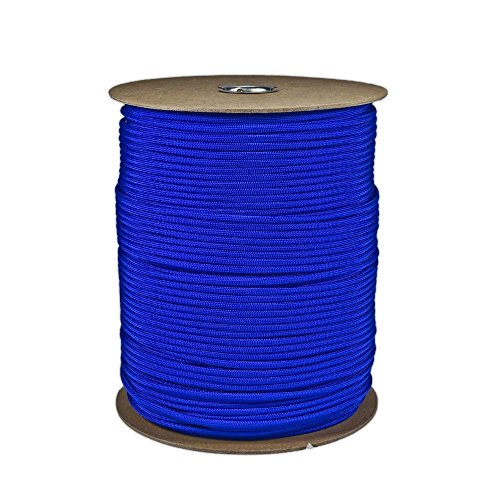 SGT KNOTS Paracord 550 Type III 7 Strand - 100% Nylon Core and Shell 550 lb Tensile Strength Utility Parachute Cord for Crafting, Tie-Downs, Camping, Handle Wraps (4mm - 1000 ft - Electric Blue)