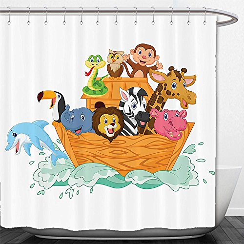 Beshowere Shower Curtain Decor Set Illustration Before The Journey All AnimalMyth Faith Grace Old Story Artprint Bathroom AccessorieMulti.jpg by Beshowere