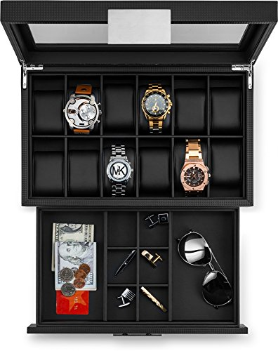 Glenor Co Watch Box With Valet Drawer For Men 12 Slot Luxury Import It All