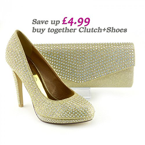 Kick Footwear Ladies Diamante court shoes Gold Clutch+Shoes