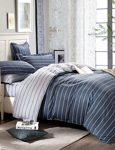 WYJ gris rayas de protectora conjunto sábanas Queen Size edredón 100% toallas de algodón,