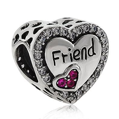 6dae2eae1 Friend Heart Crsytal Charms 925 Sterling Silver Love Charm Family Bead for  European Bracelet: Amazon.co.uk: Jewellery