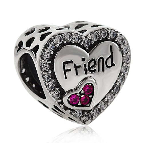 Best Friend /Grandmother 925 925 Sterling Silver Crystal Love Heart Charm Letter Charm Friendship Charm For Mother's day Birthday Charm Woman Charm Bracelet or Necklace - Suit Sunglasses Will Me