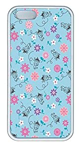 iPhone 5 5S Case Bees And Flowers Illustration Pattern TPU Custom iPhone 5 5S Case Cover White