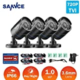 SANNCE 720P HD-TVI 1280TVL CCTV Security Camera ,3.6mm Lens 24 IR LEDs, 66ft Long Night Vision ,Outdoor Weather-proof Surveillance Camera Only for TVI DVR Recorder(Pack of 4)