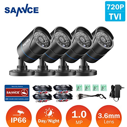 SANNCE 720P HD-TVI 1280TVL CCTV Security Camera ,3.6mm Lens 24 IR LEDs, 66ft Long Night Vision ,Outdoor Weather-proof Surveillance Camera Only for TVI DVR Recorder(Pack of 4) by SANNCE