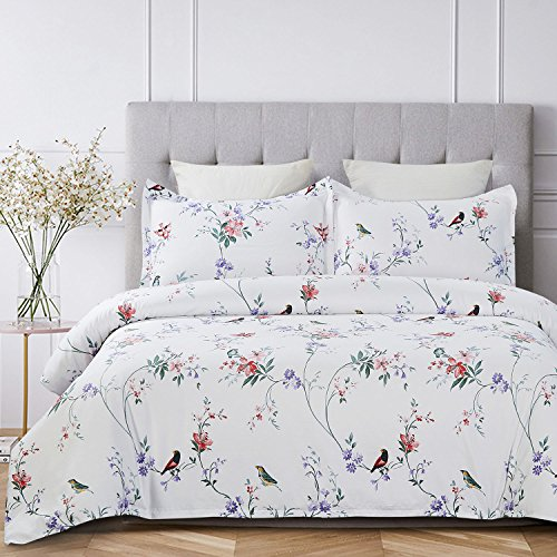 Vaulia 250-Thread-Count 100% Cotton Duvet Cover Set, Twill Weave Fabric Structure - Queen, White Flower and Birds ()
