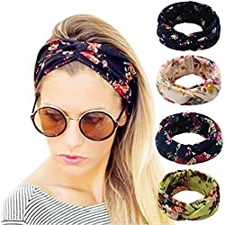 Hippih 4 Pack Women's Headbands Elastic Turban Head Wrap Floal Style Twisted Knotted Hair Band