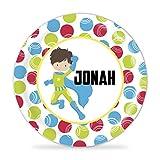 Suerhero Plate - Green Boy Superhero Melamine Personalized Plate