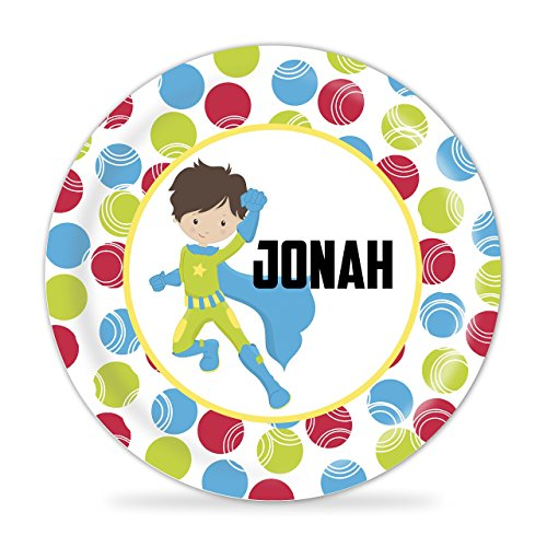 Suerhero Plate - Green Boy Superhero Melamine Personalized Plate by PurpleBerryInk