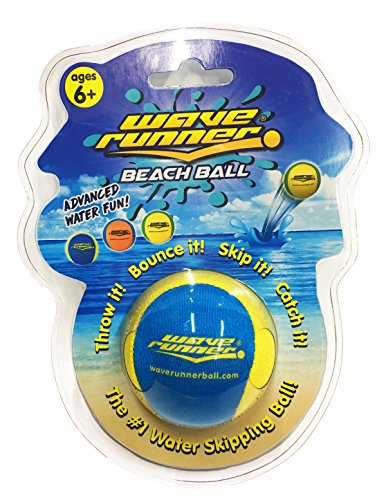 Wave Runner Beach Ball 2.2 inch Water Skipping Fun Summer Colors Great Water Toy for Kids and Adults (Blue Yellow)