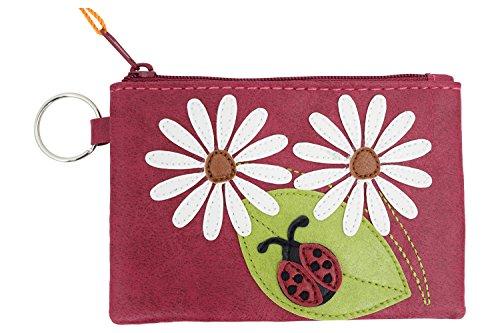 Cute Ladybug and White Daisy Flower Applique Coin Purse ID Coin Purse Keychain -