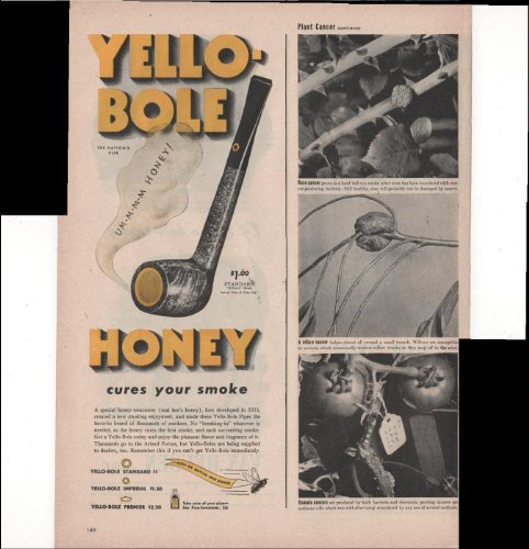 - Yello-Bole Honey Pipe Cures Your Smoke Buy War Bonds 1945 Antique Advertisement