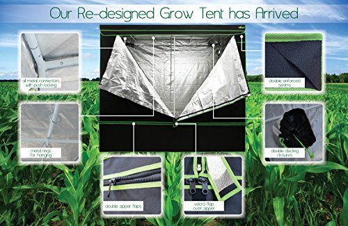 "51pjtVkHNvL - MILLIARD Horticulture D-Door 48"" x 24"" x 60"" 100% Reflective Mylar Hydroponic Grow Tent with Window, Great for Indoor Planting and Early Seedling Starters"