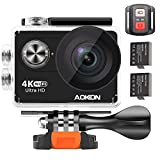 Aokon 4K Action Camera ARC100 12M Ultra HD Underwater Waterproof WiFi Sports Digital Video Camera with 2.0 LCD 2 Batteries Remote Control 170 Wide Angle Lens and Full Accessories Kits