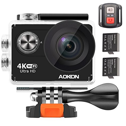 Aokon 4K Action Camera ARC100 12M Ultra HD Underwater Waterproof WiFi Sports Digital Video Cam with 2.0 LCD 2 Batteries Remote Control 170 Wide Angle Lens and Full Accessories Kits