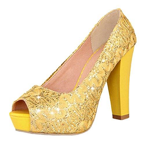 Femmes yellow a Escarpins TAOFFEN Enfiler UgYwxqT66