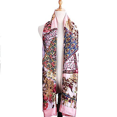 SHAREWIN Floral Silk Scarf for Woman,Lightweight Long Shawl Scarf (Red)
