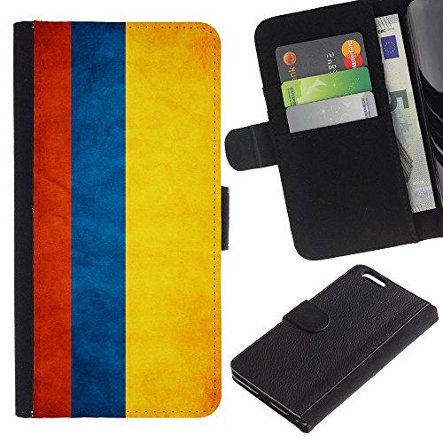 EuroCase - Apple Iphone 6 PLUS 5.5 - Colombia Grunge Flag - Cuir PU Coverture Shell Armure Coque Coq Cas Etui Housse Case Cover