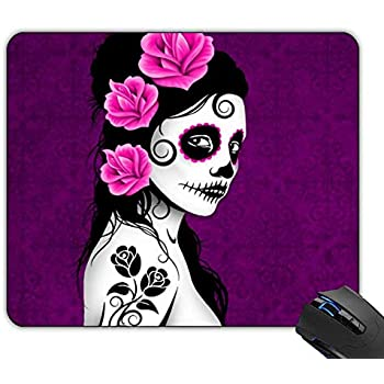 Gaming Mouse Pad Non-Slip Rubber Mouse Pad for Purple Sugar Skull Penguin