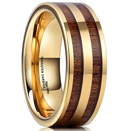 King Will Nature Mens 8mm Gold Tungsten Carbide Ring with Two Line Wood Inlay Wedding Band