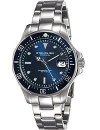 Stuhrling Original Men's 664.02 Aqua Diver Analog Display Japanese Quartz Date Silver Watch