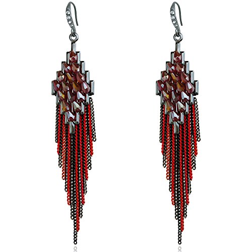 Gorgeous Black Long Tassel Crystal Women's Bohemian Dangle Earrings for Women Prom Wedding Party Red (Red Black Crystal)