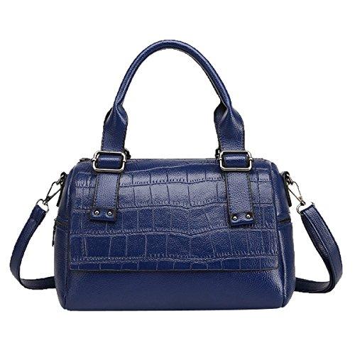 Señora Moda Pu Cuero Bolso Señora Bolsa De Hombro Satchel Bolsa De La Bolsa Para Las Mujeres Multicolor Blue