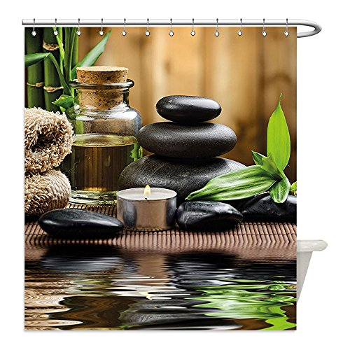 Liguo88 Custom Waterproof Bathroom Shower Curtain Polyester Spa Decor Asian Zen Massage Stone Triplets with Herbal Oil and Scent Candles Sand Brown Green Decorative (Easy Triplet Costume Ideas)