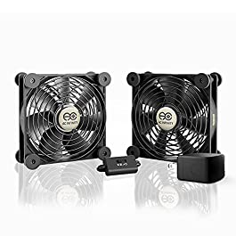 AC Infinity MULTIFAN S7-P, Quiet Dual 120mm AC-Powered Fan with Speed Control, UL-Certified for Receiver DVR Playstation…