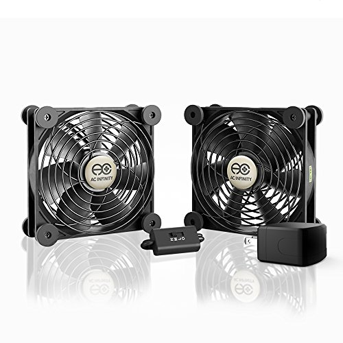 AC Infinity MULTIFAN S7-P, Quiet Dual 120mm AC-Powered Fan with Speed Control, for Receiver DVR Playstation Xbox Component Cooling by AC Infinity