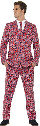 Smiffy's Men's Union Suit, Jacket, pants and Tie, Stand out Suits, Serious Fun, Size L, 43520