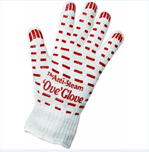 Price comparison product image Zehui Oven Glove with Non-slip Red Silicone Grip for Cooking Baking Grilling Heat Resistant Anti Steam Free Size 1pc