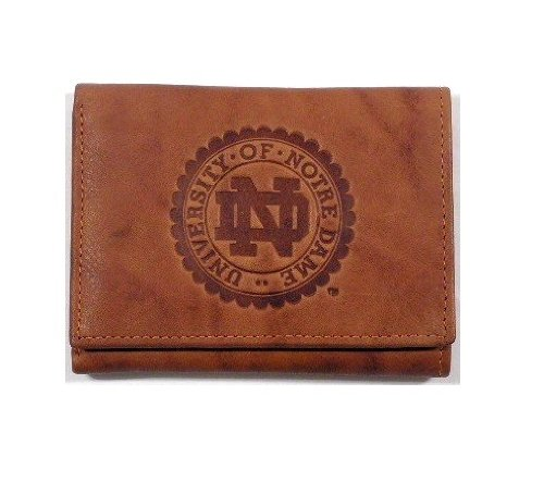 Rico Industries NCAA Notre Dame Fighting Irish Embossed Leather Trifold Wallet