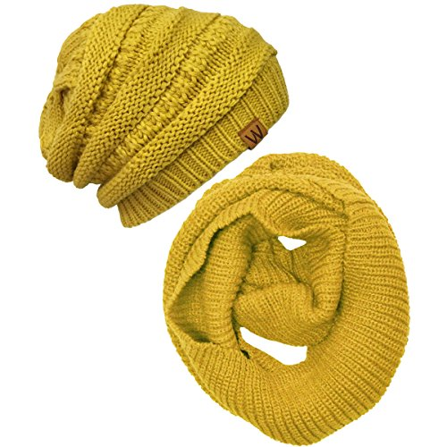 Wrapables Winter Warm Knitted Infinity Scarf and Beanie Hat Set, Yellow