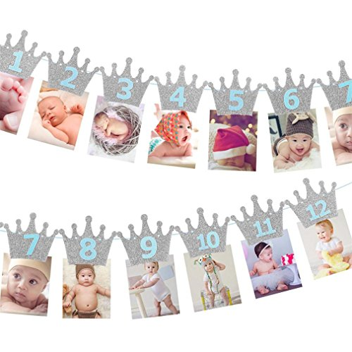 Baby 1St Birthday Banner Gold Paper Photo Frame Baby Shower Boy Girl Anniversary Decor First Birthday Picture Frame Silver -