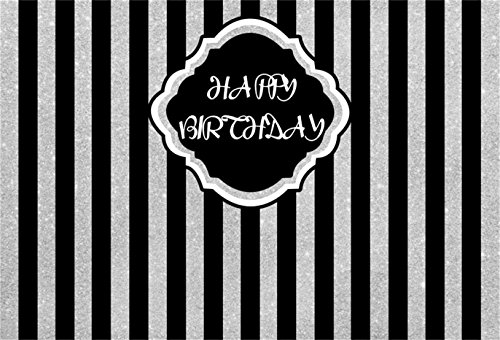 Scroll Stripe Wallpaper - CSFOTO 7x5ft Happy Birthday Black and White Vertical Stripes Background Birthday Party Decoration Photography Backdrop Photo Studio Props Kid Newborn Baby Artistic Portrait Wallpaper