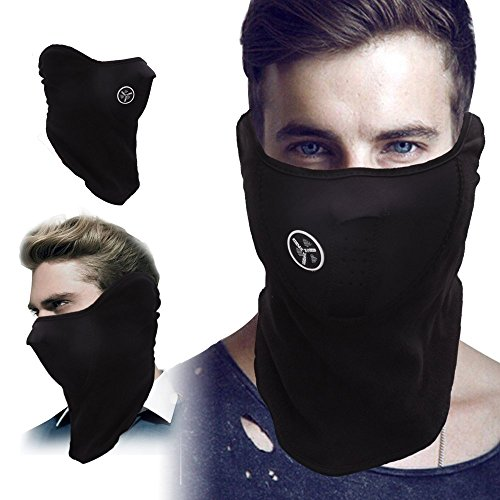 KingBig Windproof Half Face Mask, Unisex Winter Warm Dustproof & Windproof Fleece Neck Warm Ski Face Mask with Air Holes for Outdoor Sport Skiing Cycling Motorcycle Riding Snowmobile Snowboard (Black)