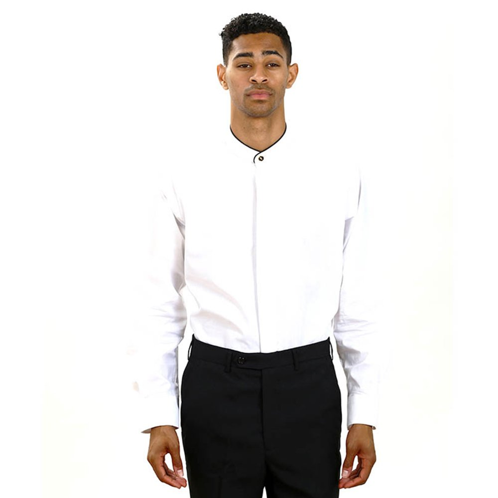 Amazon Mens White Banded Collar Shirt Clothing
