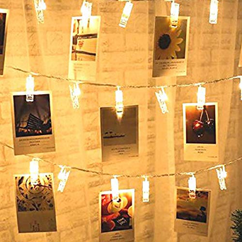 (SFgift 13ft Battery Operated 20 Photo Clips String Lights, Transparent Clips with 20 Warm White LED Light for Hanging Pictures, Cards, Artwork)