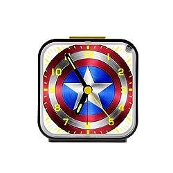 High Quality Custom Captain america shield Square Black Alarm Clock