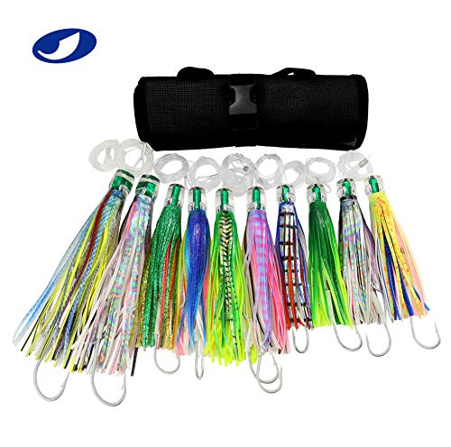 OCEAN CAT Set of 10 Pcs Offshore Big Game Trolling Lure for Marlin Tuna Mahi Dolphin Durado Wahoo Trolling Lures Free Mesh Bag (Best Dolphin Trolling Lures)
