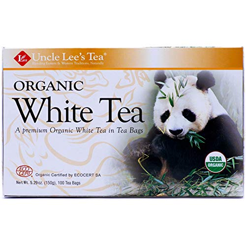 Uncle Lee's Tea Organic White Tea, Tea Bags, 100-Count Boxes (Pack of 4)