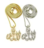 MENS ICED OUT GOLD SILVER ALLAH FIVE PERCENTER ISLAM 'WE THE BEST' PENDANT BOX CHAIN NECKLACE (Allah 2 Necklace Set)