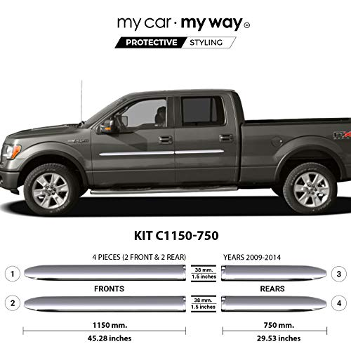 MY CAR MY WAY (Fits) Ford F150 2009-2014 6.5′ Box Supercrew Chrome Body Side Molding Cover Trim Door Protector