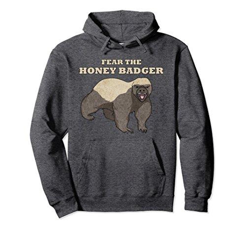 Unisex Fear The Honey Badger - Funny Hoodie XL: Dark Heather