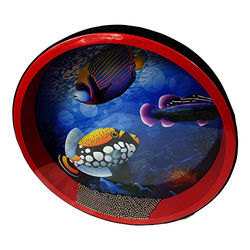Generic Synthetic Shell Ocean Drum Both Side Fish Design 10''x1.4'' for Kids by YH